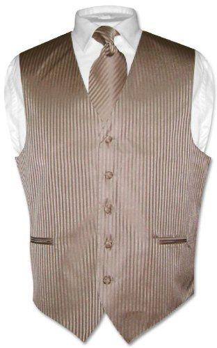 9915815d2cb0 Men's Dress Vest & NeckTie Mocha / Lt. Brown Vertical Stripes sz 2XL  Vesuvio