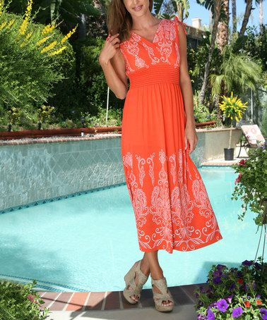 Look what I found on #zulily! Orange Tribal Smocked Maxi Dress - Plus by Ananda's Collection #zulilyfinds