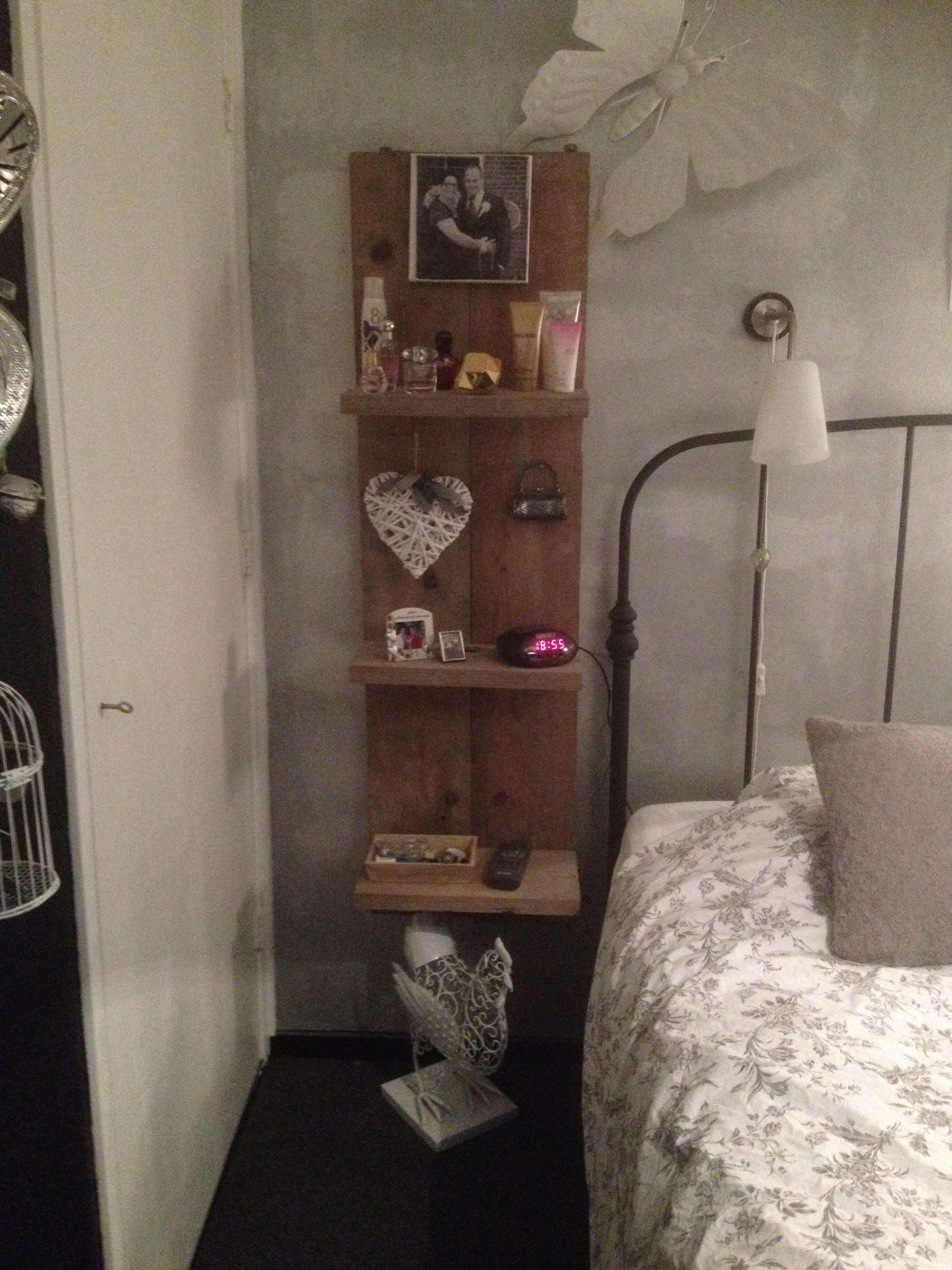 Open concept wooden shelf perfect for next to your bed