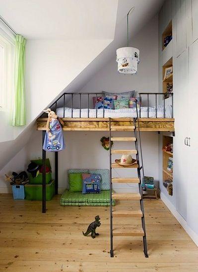 Kids Loft Bed On Stilts Home Room Inspiration Kid Spaces