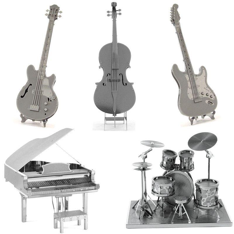 Muziekinstrumenten 3D Metalen Puzzel DIY Rvs Montage Model Speelgoed Magnetische Kinderen Speelgoed Elektrische Gitaar Cello Bass Puzzel