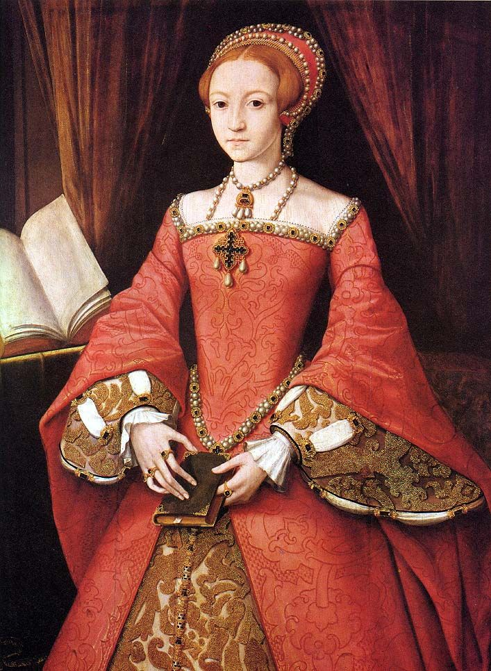 """The Young Elizabeth"" (later Queen Elizabeth I), c. 1546 (Hearn, p. 78) An example of the sleeve head appearing to be attached directly to the bodice armscye & of the false undersleeve material matching the underskirt. The pointed waist & apparent absence of a center seam make it difficult to imagine this gown would have a front closure, hidden or otherwise."