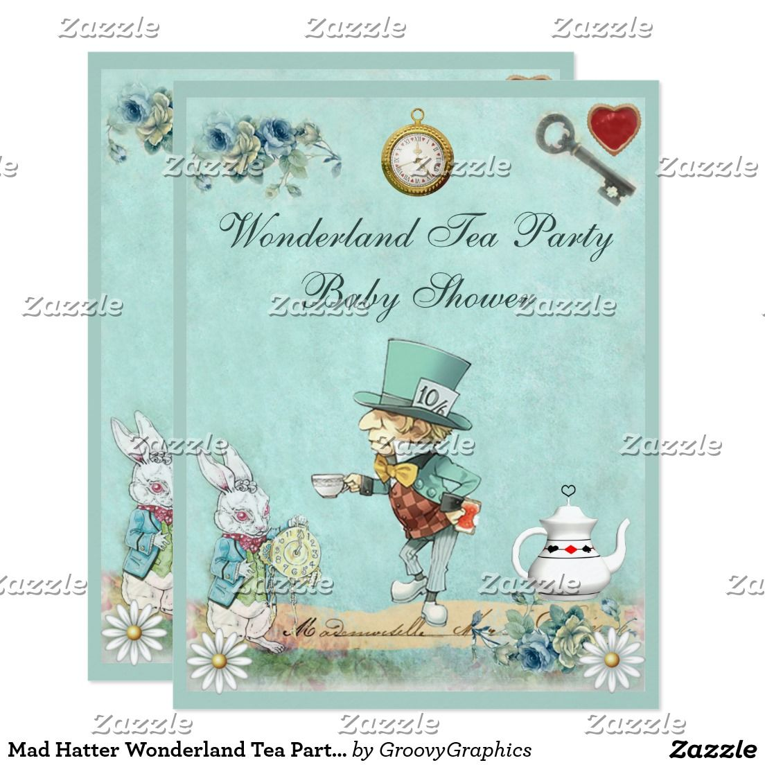 mad hatter wonderland tea party baby shower card | tea party, Baby shower invitations