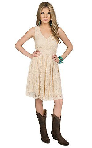Anne French® Women's Cream Lace Tiered Sleeveless Dress ...