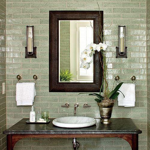 Paint walls sage green, put dark frame around mirror, put small ...