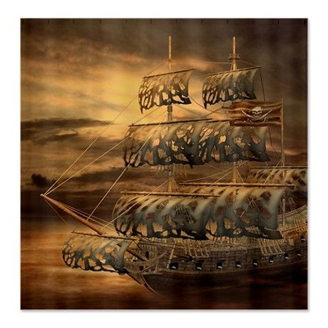 Pirate Ship Shower Curtain By Fantasyartdesigns Cafepress Real