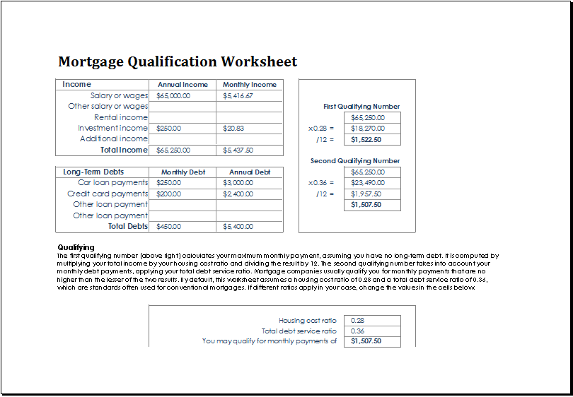 mortgage qualification worksheet template at www.xltemplates.org | Microsoft Templates ...