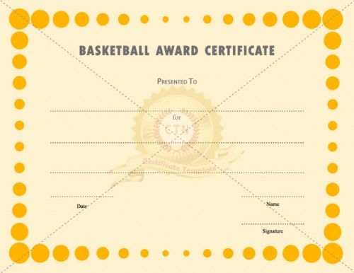 want to give certificate for a basketball team coach or a player