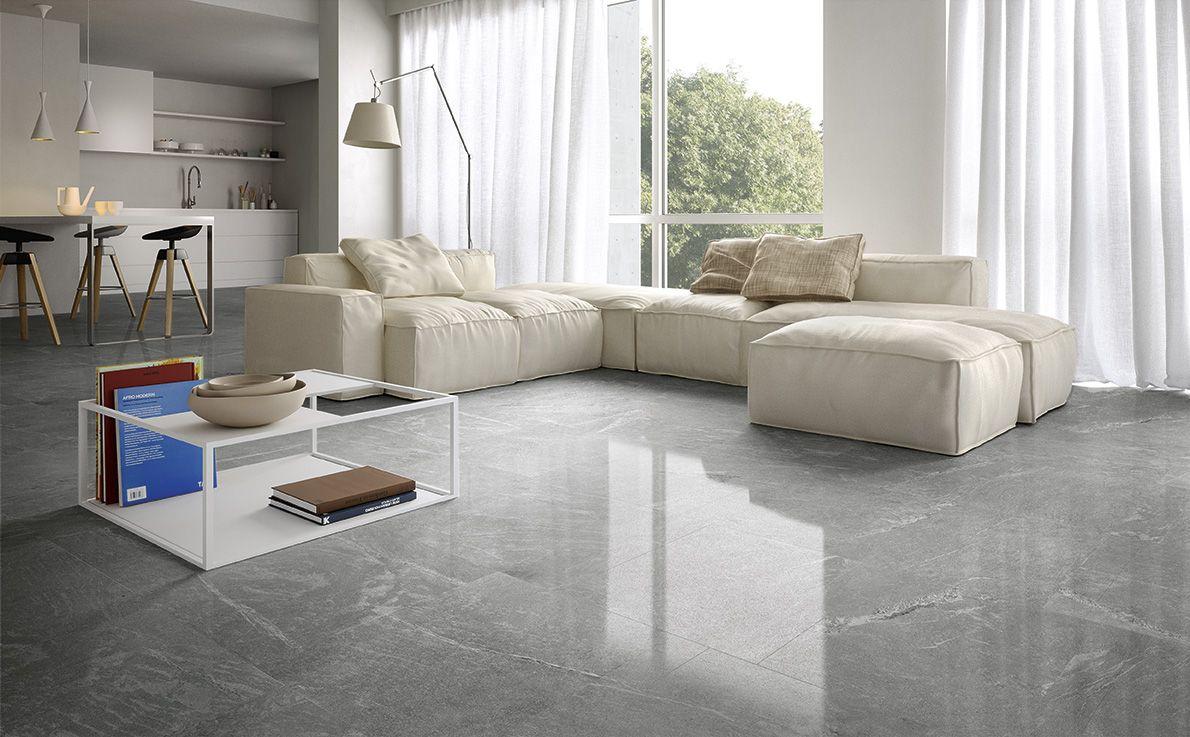 Steinoptik Uberzeugt Mit Tauschend Echten Oberflachen Moderne Bodenfliesen Wohnzimmer Design Fliesen Wohnzimmer