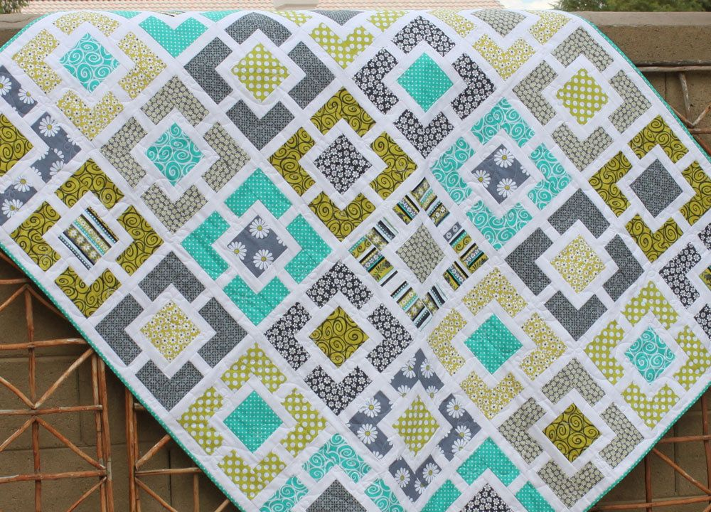 Garden Fence Quilt Lime Teal And Charcoal Gray Lap Couch Or
