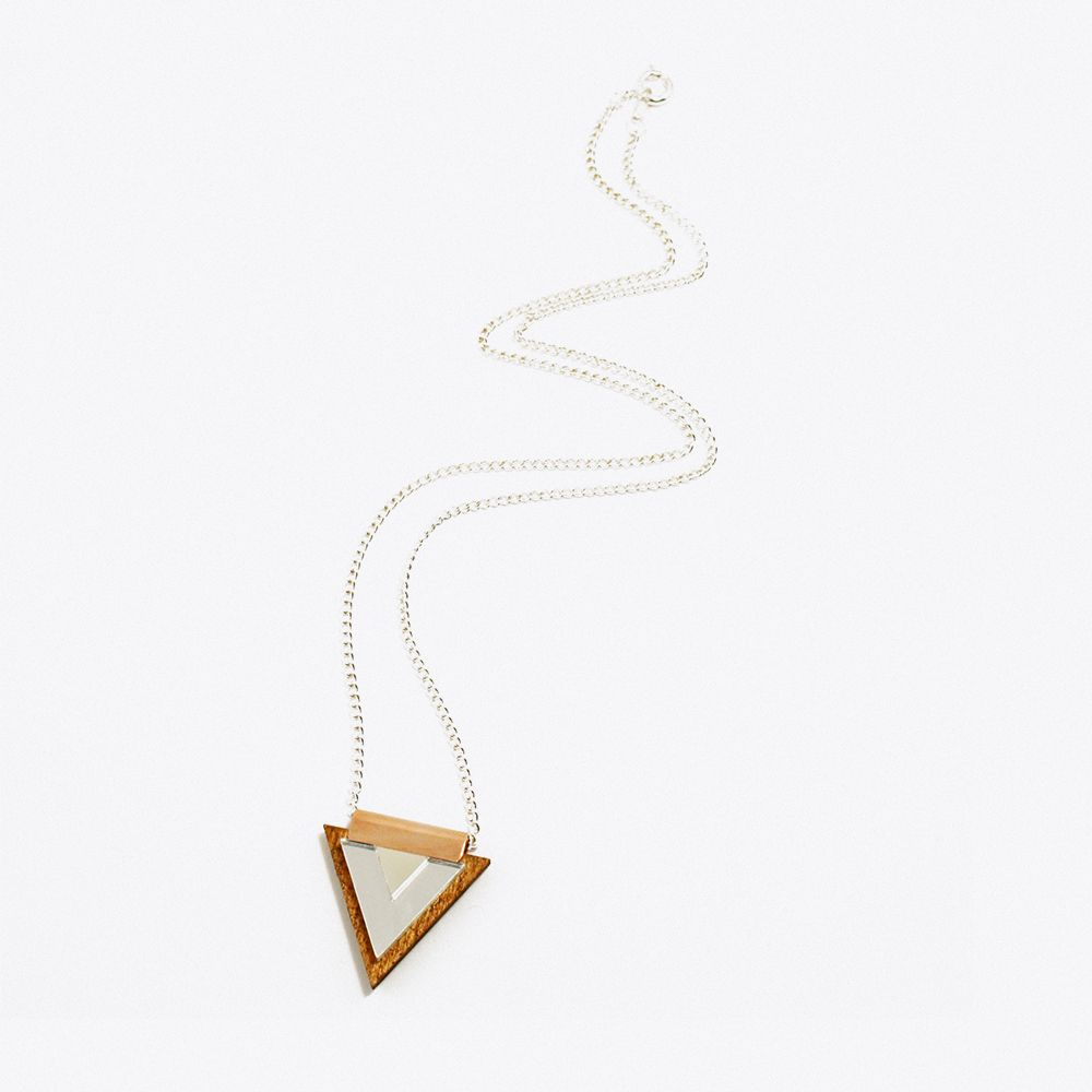 Overlay Triangle Necklace Wood & Silver by Wolf and Moon