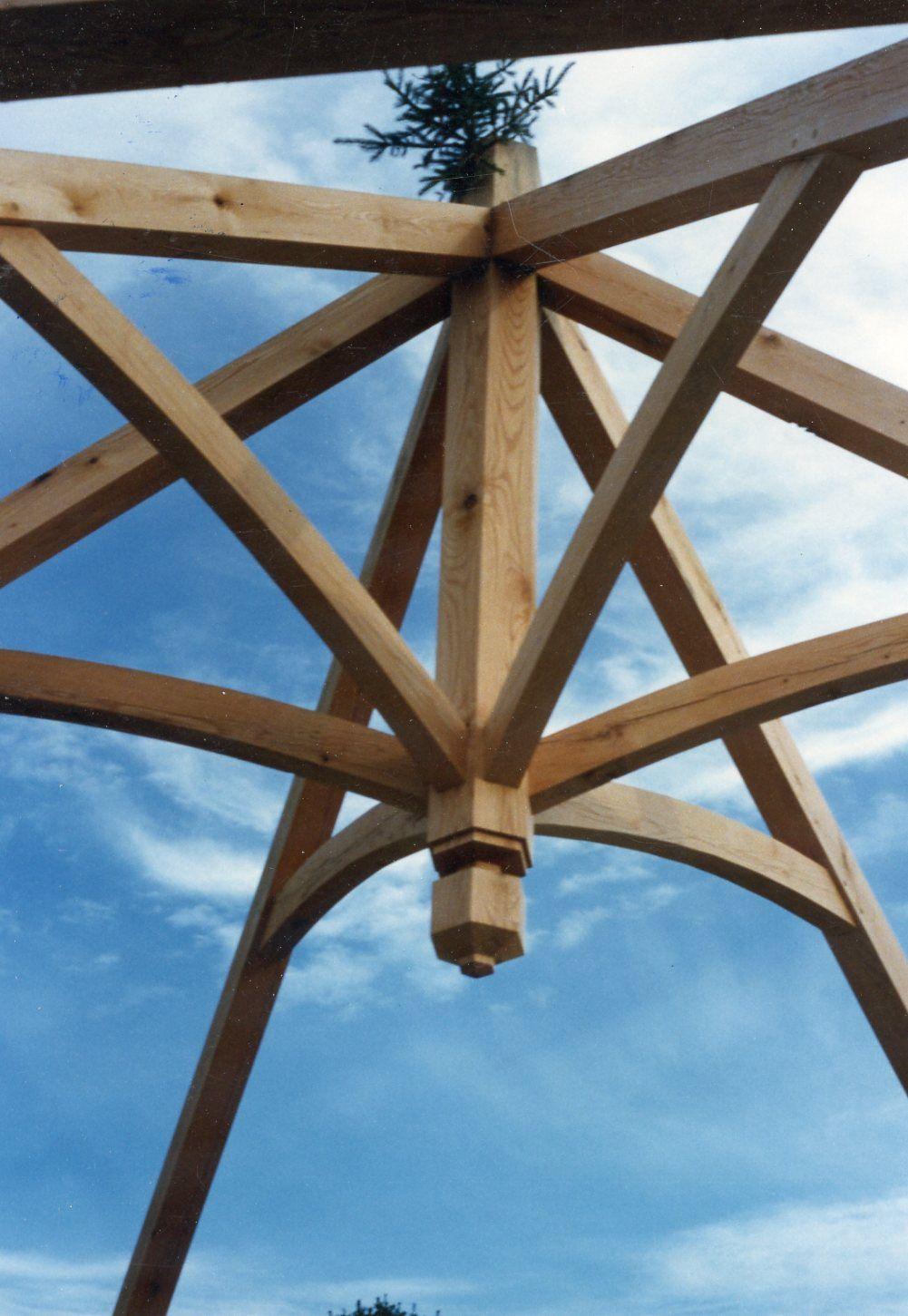 Umbrella Truss For A Timber Frame Gazebo Timber Frame Joinery Timber Framing Roof Truss Design