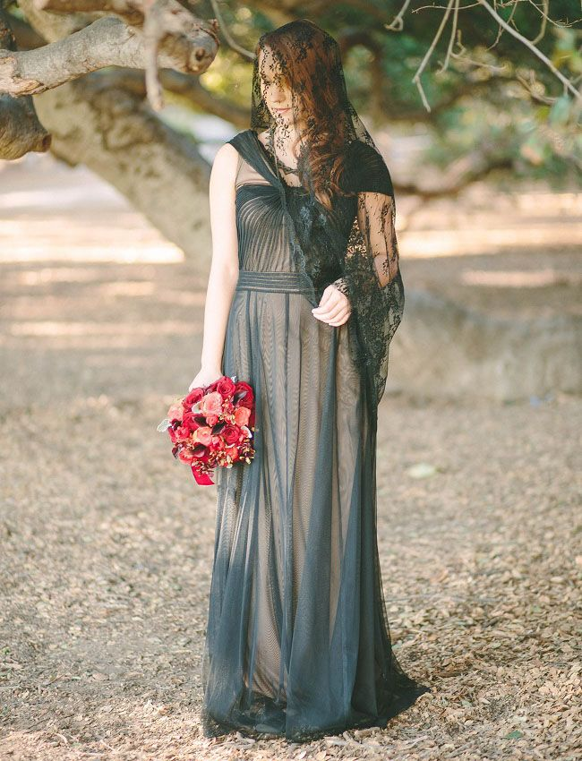 Greek Mythology Inspired Wedding Black And Gown Lace Veil Red