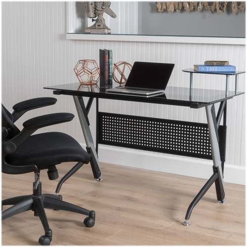 Noble House - Dryden Glass Computer Desk - Gray