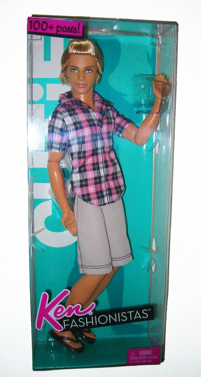 a336f3ab3b645 2010 Ken Fashionistas CUTIE 100+ poses Swappin Styles Wave 1 Plaid Shirt  Blonde Hair T7417   027084929300 Poseable Articulated Arms and Legs Mattel  Barbie