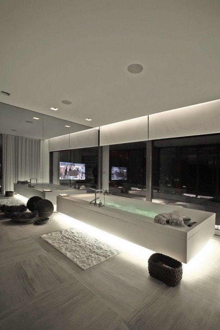 Interior Design, White Bathtub Fur Rug Glass Wall Single Hole Faucet ...