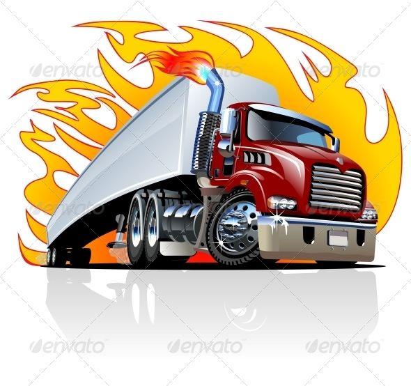 Cartoon Semi Truck One Click Repaint Semi Trucks Trucks Train