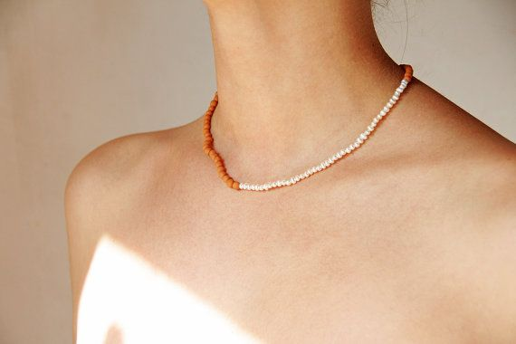Ray of light  short beaded ceramic necklace  ready by LAccentNou