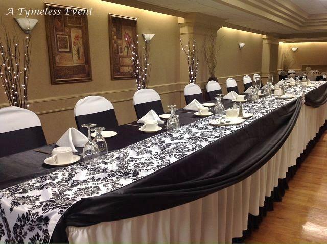 25 Flocked Damask 14 X 108 Table Runners Taffeta Black White Made In USA