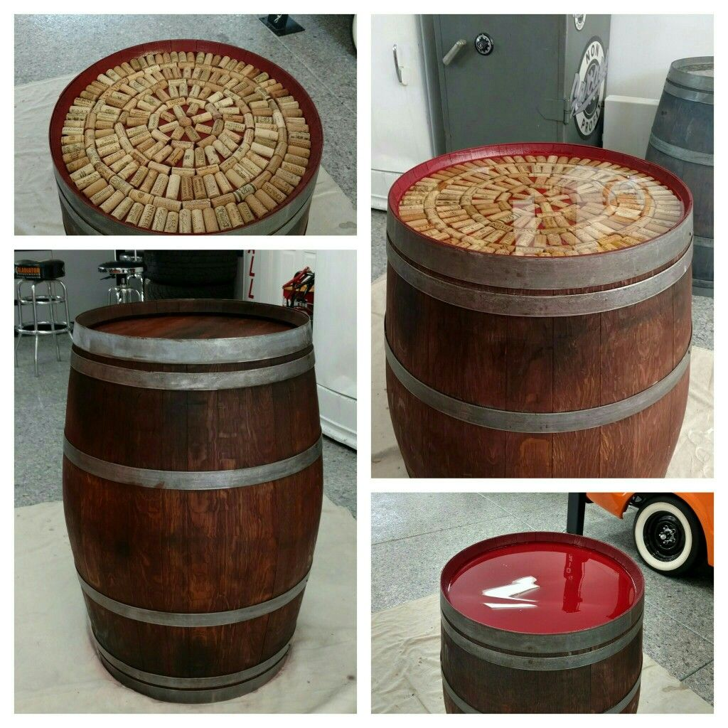 Wine Barrel Table With Corks Floated In Epoxy Wine Barrel Table Barrel Table Cork Table [ 1024 x 1024 Pixel ]