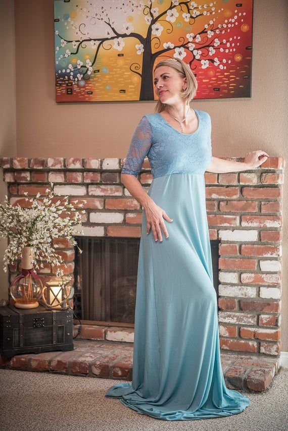 Photo of Baby Blue Lace On Shoulder Elbow Length Sleeves Dress for Photo Shoot | Bridesmaids Dress | Bridal D