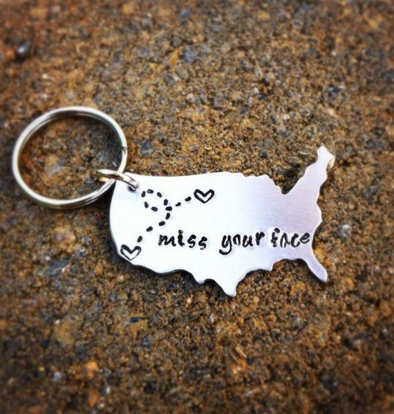 Extra Large Long Distance Love Usa Keychain With