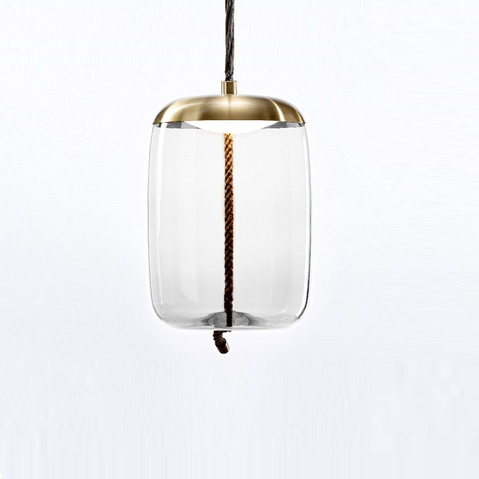 Abat Jour Cilindro suspension, knot cilindro, transparent, or , Ø50cm - brokis