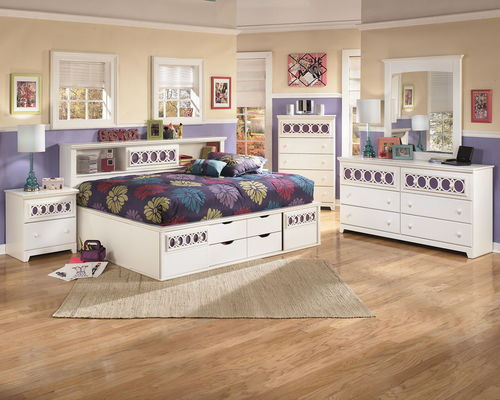 Ashley Zayley White Dresser, Mirror  Full Bookcase Bed with Storage