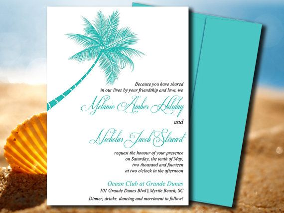 beach wedding invite microsoft word template lazy palm tiffany