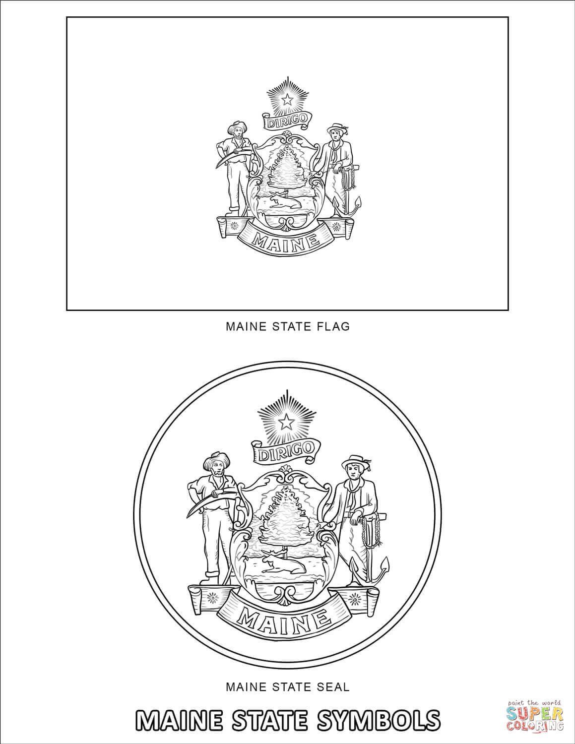 Oklahoma State Flag Coloring Page Maine State Symbols Coloring Page In 2020 Oklahoma State Flag Flag Coloring Pages State Flags