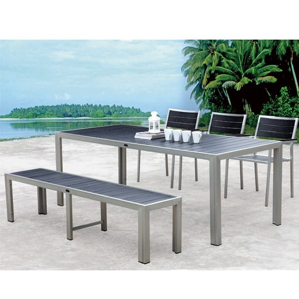 outdoor patio aluminum furniture with chairs long wooden dining ...