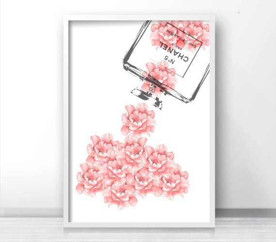 coco chanel wall art pink