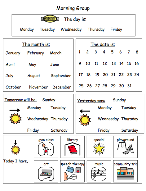 Special Education Adapted Calendar Activities Language