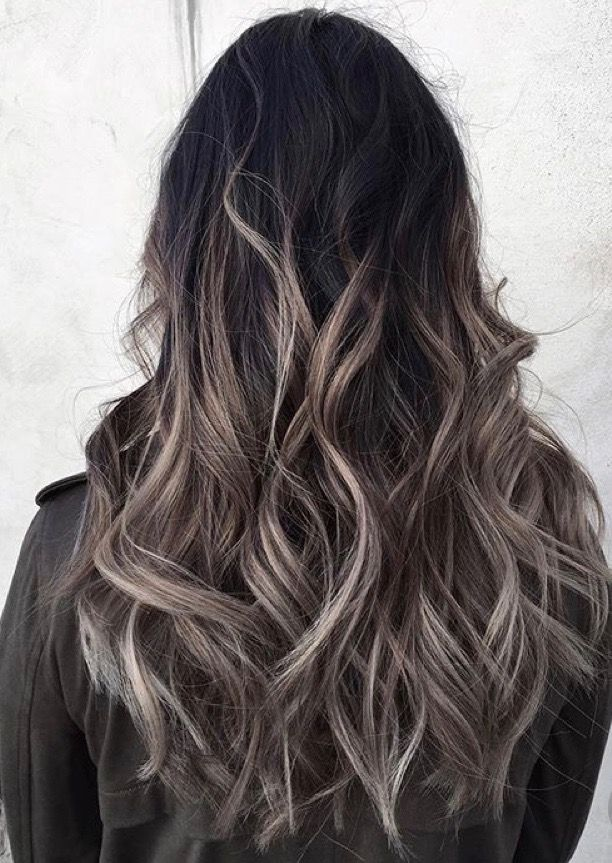 Light Ash Bayalage Ombre On Dark Brunette Base Hair Styles Long Hair Styles Grey Ombre Hair