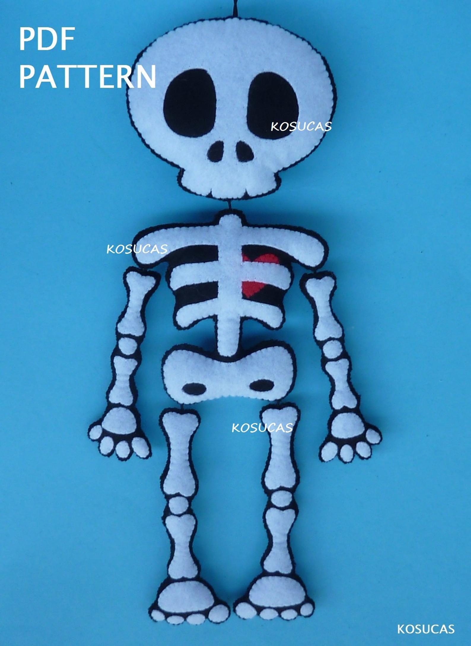 Pdf Tutorial To Make A Felt Skeleton Etsy In 2021 Halloween Felt Crafts Felt Halloween Halloween Patterns