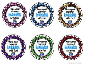 end of school year gifts summer gifts Bubbles DIGITAL gift tag