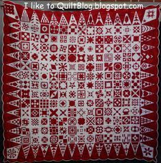 Dear Jane, red and white, by Bente in Germany, at Iliketoquiltblog.blogspot.com