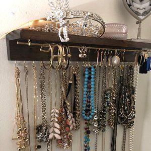 Jewelry Organizer With Shelf Necklace Holder Etsy Organization Stand Silver Statement