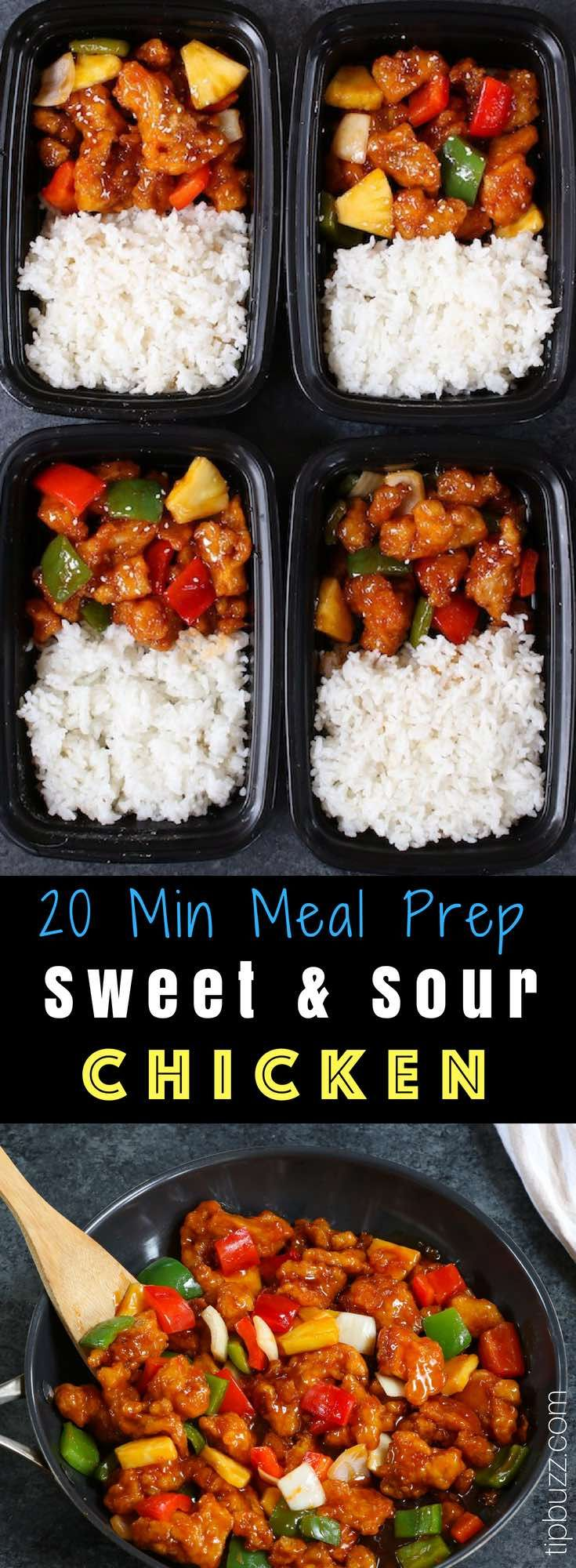 This Sweet and Sour Chicken is tender and crispy with bell peppers and pineapple in an irresistible sweet and sour sauce. It's ready in just 20 minutes and makes a quick weeknight dinner that's so much better than takeout from Chinese restaurants! #SweetAndSourChicken #MealPrep #ChickenMealPrep #bellpepperrecipes