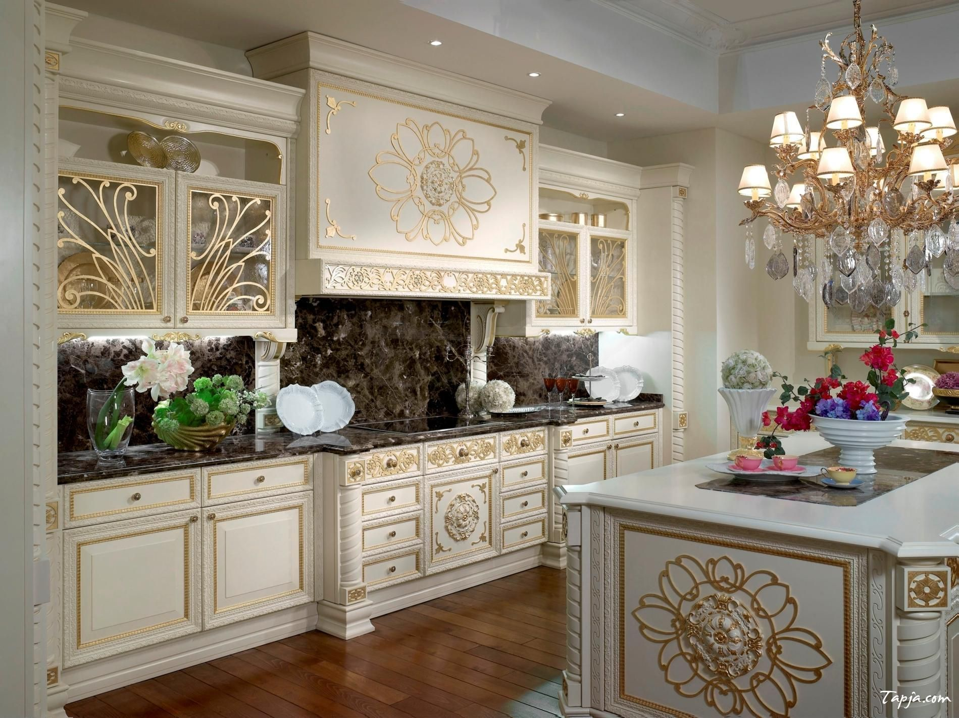 Classy Luxury Photo Kitchen Design With White Gold Kitchen Cabinet And Fancy  Chandelier Above Kitchen Island