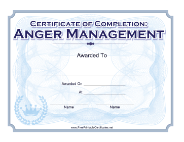 image about Printable Anger Management Certificate called Rejoice the completion of an anger regulate program with