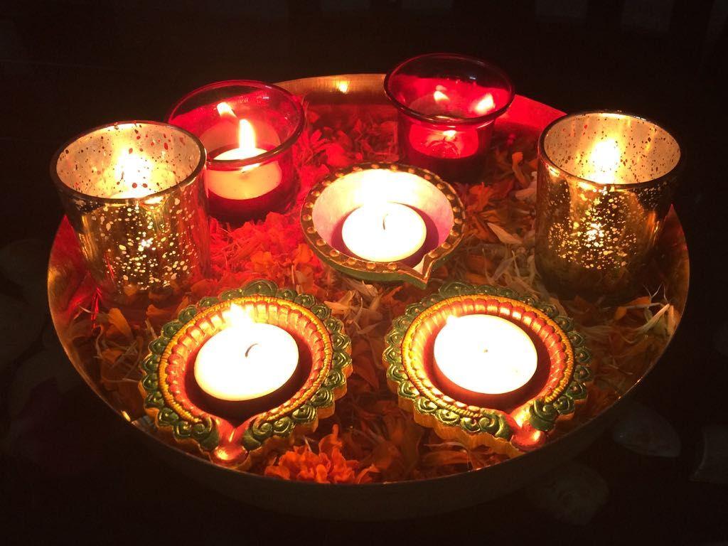 Pin By Anita Pathak On Diwali Decor Diwali Decorations Tea Lights Tea Light Candle