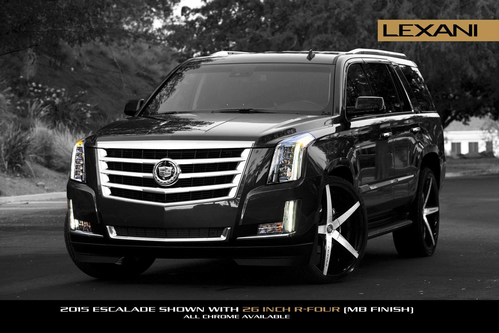 hight resolution of 26 lexani wheels r four suv in gloss black machined on a 2015 cadillac