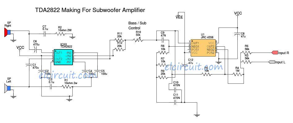 tda2822 make for subwoofer power amplifier audio schematic pinterest rh pinterest com Circuit Amplifier Symbol Amplifier Circuit Board