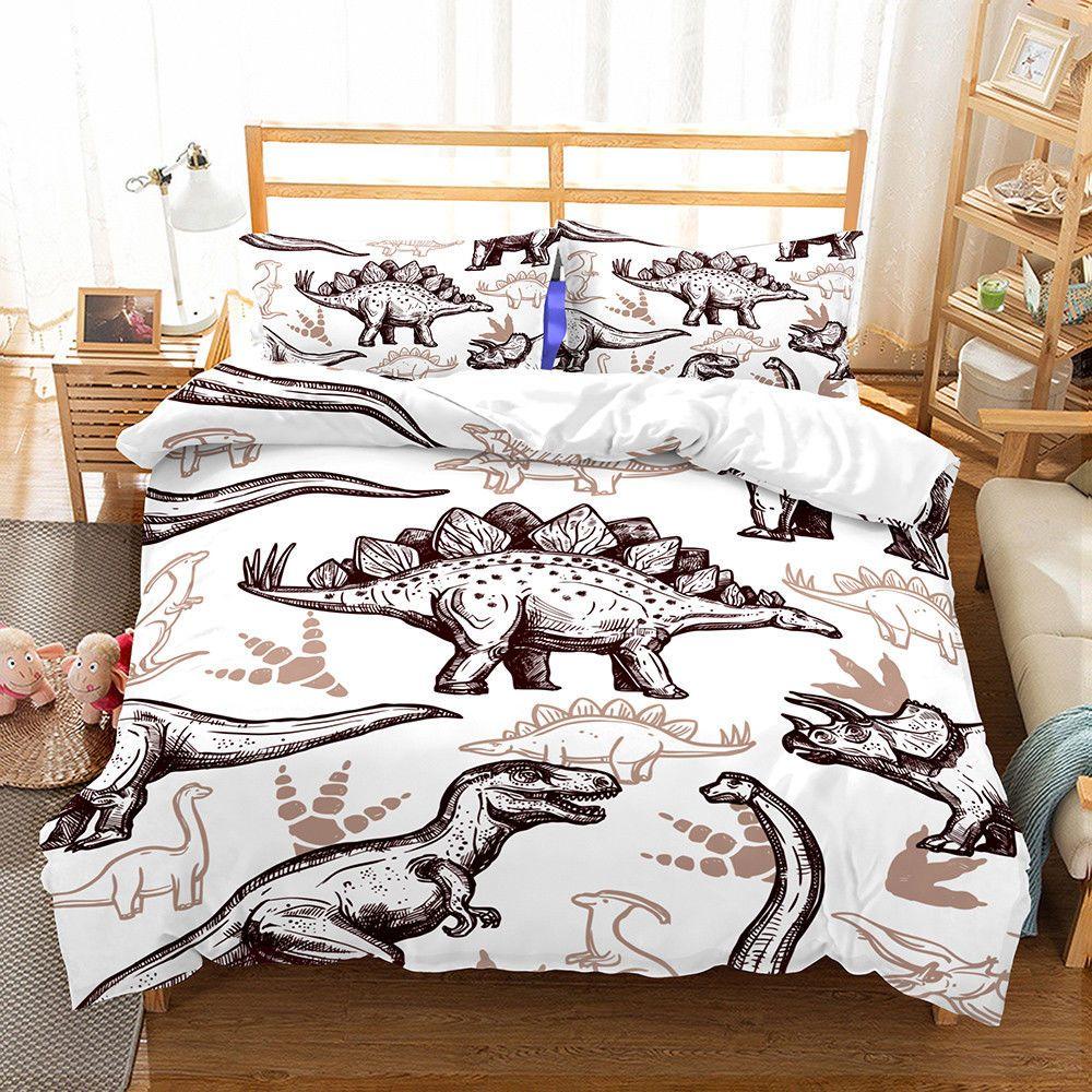 Details about Dinosaur Duvet Quilt Cover Set Pillowcase