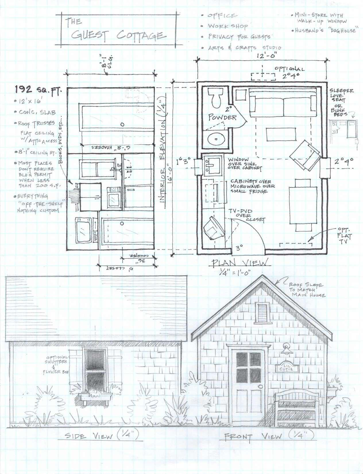The Guest Cottage 2 Jpg 1 264 1 652 Pixels Small Cabin Plans Small House Plans Free Cabin House Plans