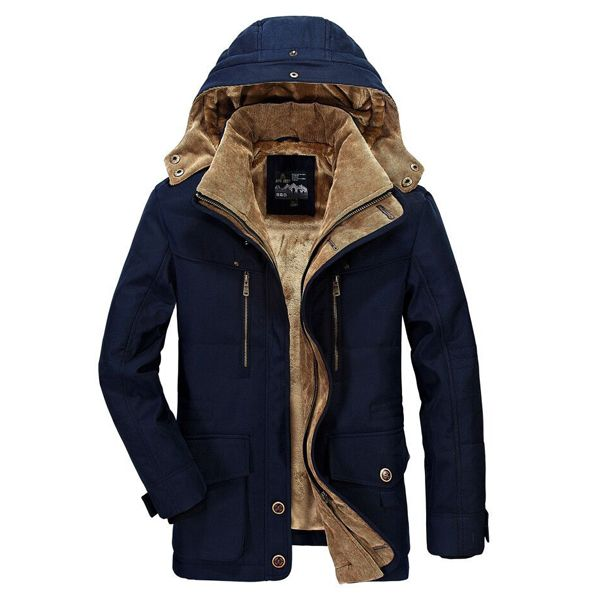 2fe33dfcc AFSJEEP Mens Fleece Thick Winter Coat Hooded Outdoor Solid Color ...