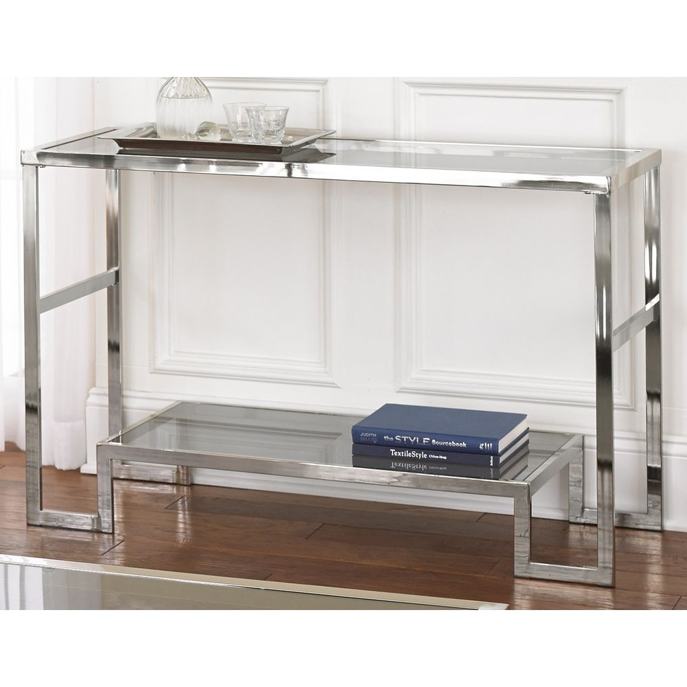 Cordele Chrome And Glass Sofa Table Overstock Shopping Great
