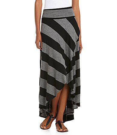 IN San Francisco Striped Knit HiLow Skirt #Dillards