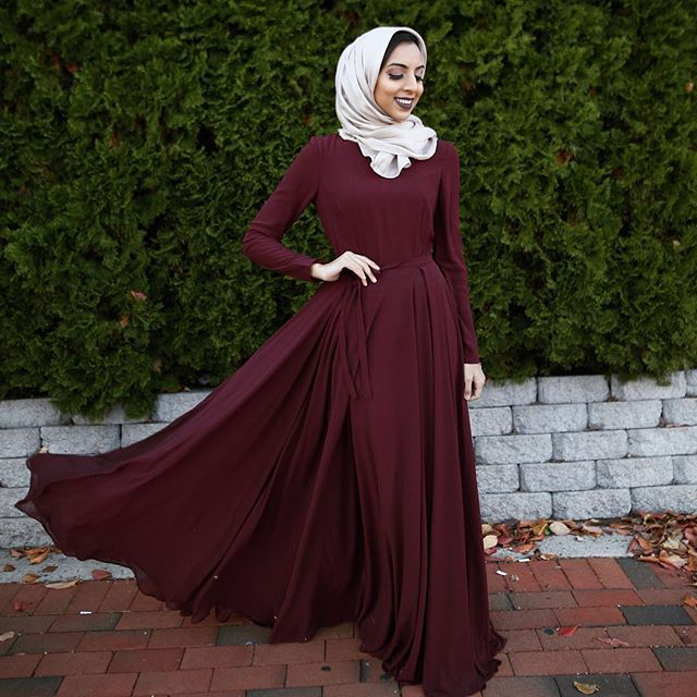 impressive outfit hijab maroon for women